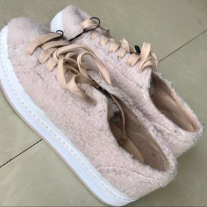 ZARA faux fur SNEAKERS lace up platform shoes pink